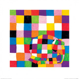 Elmer, Squares Art by David Mckee