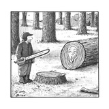 A man who has just cut down a tree sees that the tree rings resemble The S… - New Yorker Cartoon Premium Giclee Print by Harry Bliss