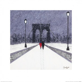 Nighttime Stroll Across Brooklyn Bridge - New York Posters by Jon Barker