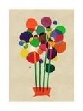 Happy Flowers in the Vase Giclee Print by Budi Kwan