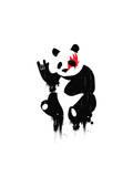 Panda Rocks Giclee Print by Budi Kwan