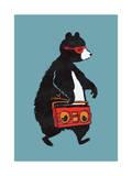 Boombox Bear Blue Giclee Print by Budi Kwan