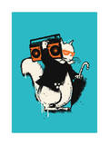 Boombox Squirrel Giclee Print by Budi Kwan