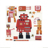 Red Robots Print by Anne Davies