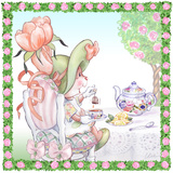 Tulip Petals Tea Bunny Garden Party Prints