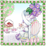 Candy Violet Tea Bunny Garden Party Art