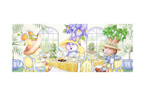 Tea Bunnies Blue and Yellow Tea Poster