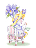 Iris Bouquet Tea Bunny Art