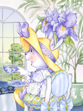 Iris Bouquet Tea Bunny at the Petite Palm Tea Room Print