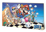 Super Mario Bros - 3 Wood Sign Targa di legno