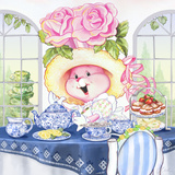 Rose Bonnet Tea Bunny at the Petite Palm Tea Room Poster