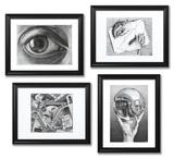 Set of 4 Framed Escher Prints 額入りアートセット : M. C. エッシャー(マウリッツ・コルネリス・エッシャー)