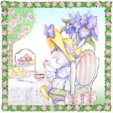 Iris Bouquet Tea Bunny Garden Party Poster