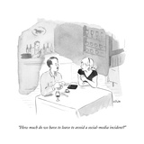 """How much do we have to leave to avoid a social-media incident?"" - New Yorker Cartoon Premium Giclee Print by Emily Flake"