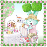 Bouncy Boxwood Tea Bunny Garden Party Prints