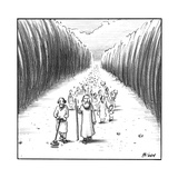 Moses walks through the parted sea, and next to him a man uses a metal det… - New Yorker Cartoon Premium Giclee Print by Harry Bliss
