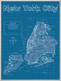 New York City Artistic Blueprint Map Prints by Christopher Estes