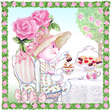 Rose Bonnet Tea Bunny Garden Party Art