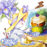 Iris Bouquet Tea Bunny Still Life with Buttercream Cupcake Posters