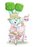 Bouncy Boxwood Tea Bunny Print