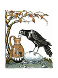 Aesop: Crow and Pitcher Premium Giclee Print by Milo Winter