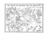 Siege of Boston Map Giclee Print