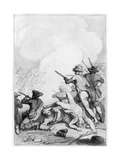 Battle of Lexington, 1775 Premium Giclee Print by Johann Heinrich Ramberg