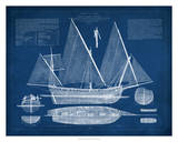 Antique Ship Blueprint III Giclee Print by Vision Studio