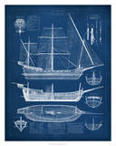 Antique Ship Blueprint I Giclee Print by Vision Studio