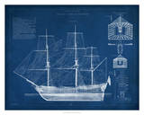 Antique Ship Blueprint IV Giclee Print by Vision Studio