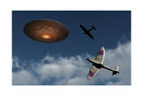 A Pair of Royal Air Force Supermarine Spitfires Giving Chase to a Ufo Art