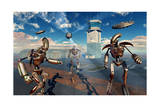 An Alien Being with Giant Robots at the Area 51 Top Secret Base in Roswell Prints