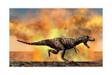 Tyrannosaurus Rex Escaping from a Violent Fire Storm Prints