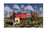 Sabre-Toothed Tigers Find a 1950's American Chevrolet and Signs of Civilization Posters