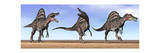 Three Spinosaurus Dinosaurs Standing in the Desert Stampe