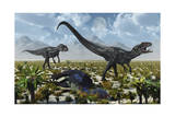 A Pair of Allosaurus Dinosaurs Kill a Camptosaurus Dinosaur Prints