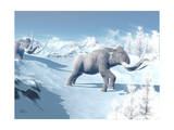 Mammoths Walking Slowly on the Snowy Mountain Against the Wind Posters