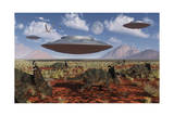 A Herd of Centrosaurus Dinosaurs Walk Past a Group of UFO'S Art Print