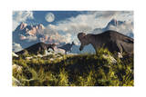 Corythosaurus Nesting Ground Set During the Cretaceous Period Poster