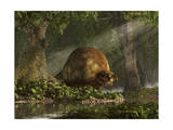 A Large Glyptodon Stands Near the Edge of a Stream Poster