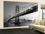 San Francisco Skyline bei Nacht Schwarz Weiss Wandgemälde Fototapete Wandgemälde