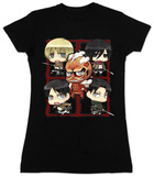Juniors: Attack on Titan - 5 Character Montage T-shirts