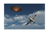 A Royal Air Force Supermarine Spitfire Aircraft Giving Chase to a Ufo Posters