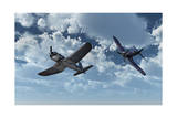 A Pair of American Vought F4U Corsair Aircraft in Flight During World War Ii Prints