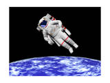 Astronaut Floating in Outer Space Above Planet Earth Prints