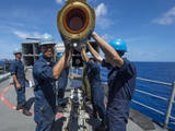 Sailors Load Rim-7 Sea Sparrow Missiles into Missile Cells Photographic Print