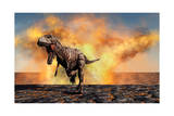 Tyrannosaurus Rex Escaping from a Violent Fire Storm Posters