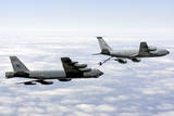 A B-52H Stratofortress Refuels with a Kc-135R Stratotanker Photographic Print