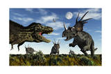 Styracosaurus Dinosaurs Confront a Tyrannosaurus Rex Prints