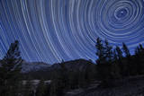 Star Trails Above Mountain Peaks Near Yosemite National Park, California Photographic Print